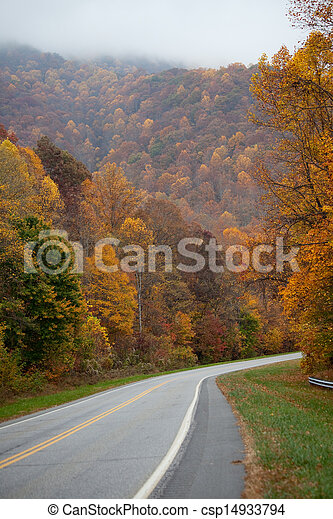 Road through autumn trees - csp14933794
