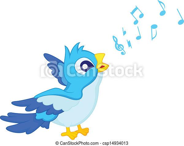 Clip art vecteur de bleu chanter dessin anim oiseau vecteur illustration csp14934013 - Dessin oiseau qui chante ...