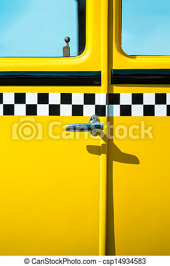 Vintage yellow taxi door panel - csp14934583