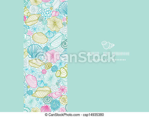 Seashells line art horizontal decor seamless pattern background - csp14935380