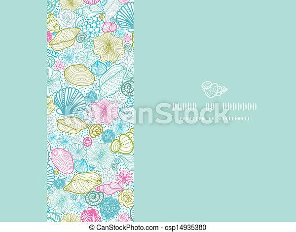 Seashells line art horizontal decor seamless pattern background - csp14935380