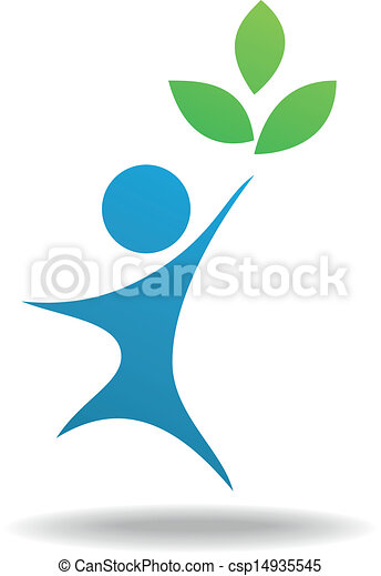People and leaf icon, nature symbol - csp14935545