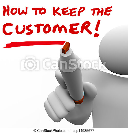 Man Writing How to Keep the Customer on Board - csp14935677