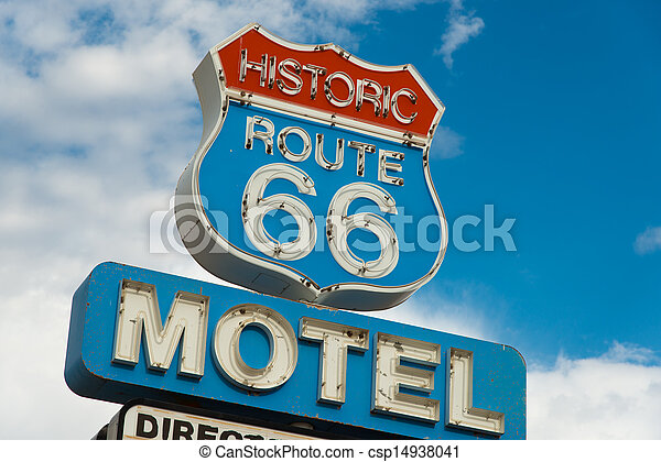 Historic route 66 motel sign in California - csp14938041