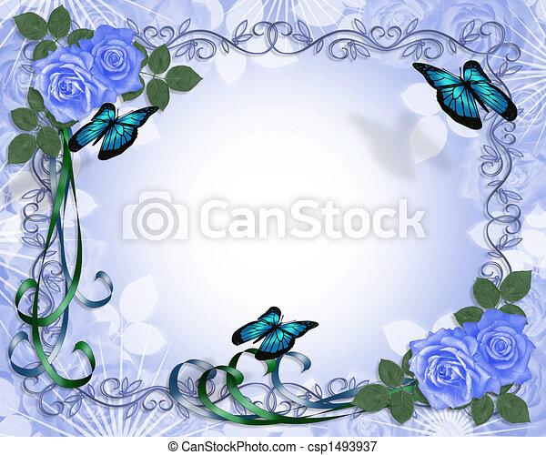 Wedding invitation Blue Roses Border - csp1493937
