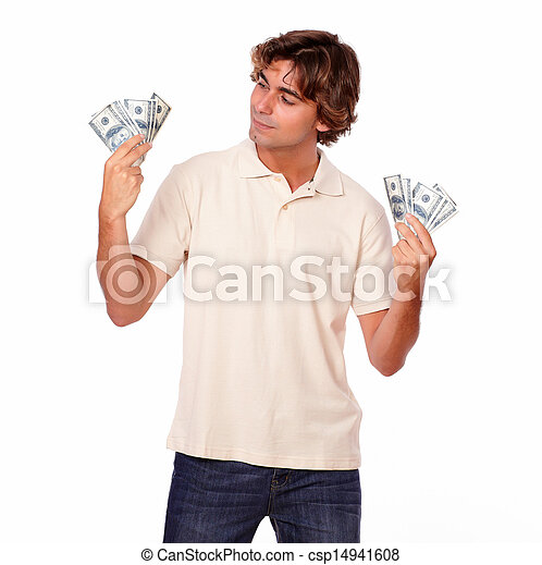 Charismatic fashionable man holding cash money - csp14941608
