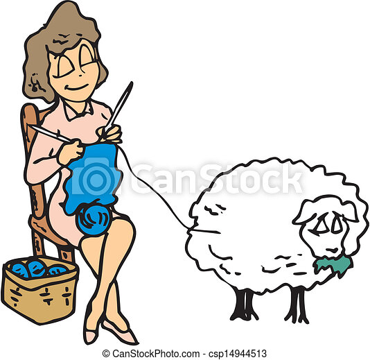 Vector Clip Art Of Woman Knitting With Wool