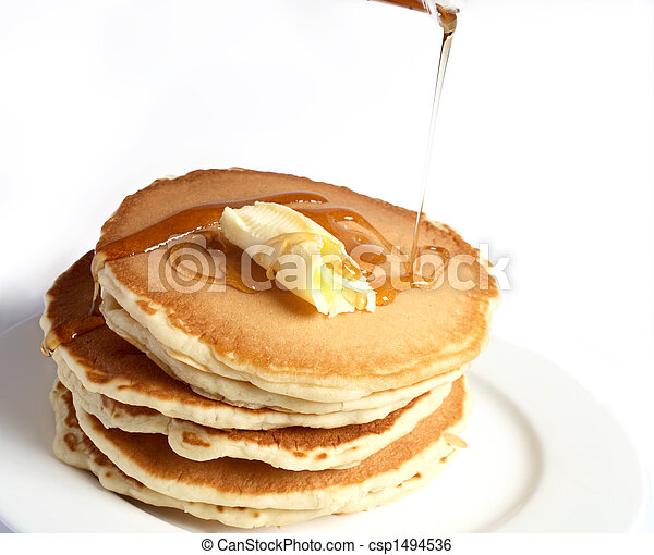 Pancakes with butter and syrup - csp1494536