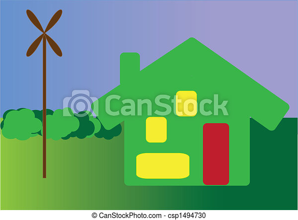 enviromentaly friendly green house with own windmill for electricity - csp1494730