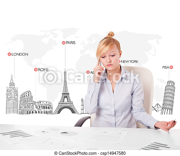 Beautiful young businesswoman with world map and major landmarks of the world - csp14947580