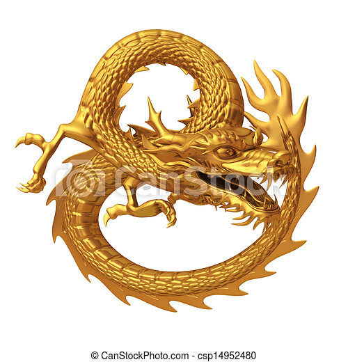 Chinese Golden Dragon Drawing 3d Render Golden Chinese