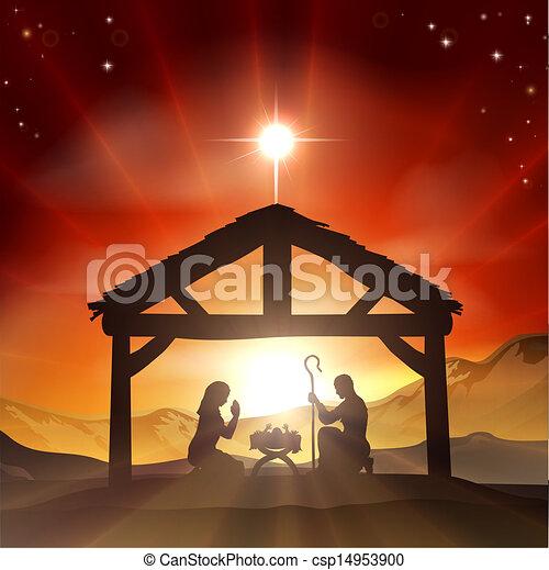 Vector Clipart of Nativity Christian Christmas Scene - Christmas ...