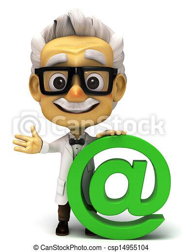 3d Professor with at mark symbol - csp14955104