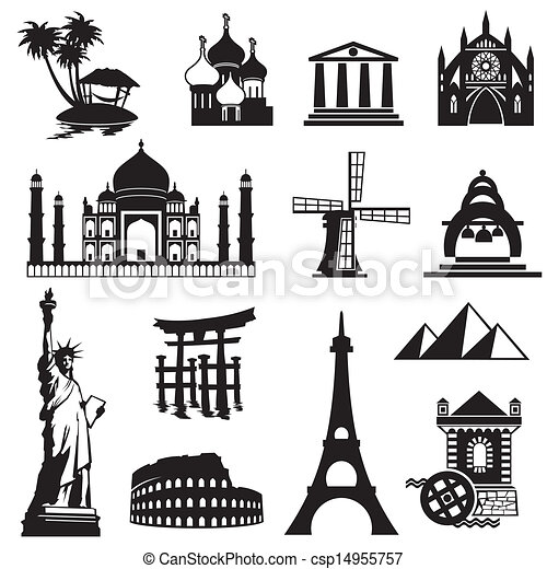 set landmarks icons - csp14955757