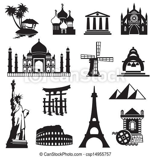 set landmarks icons - csp14955757