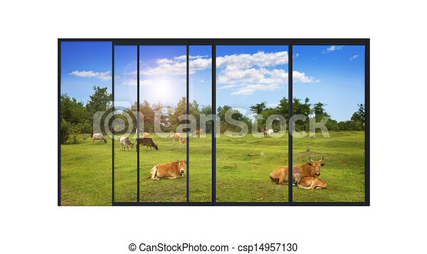 panoramic modern window with a rural landscape - csp14957130