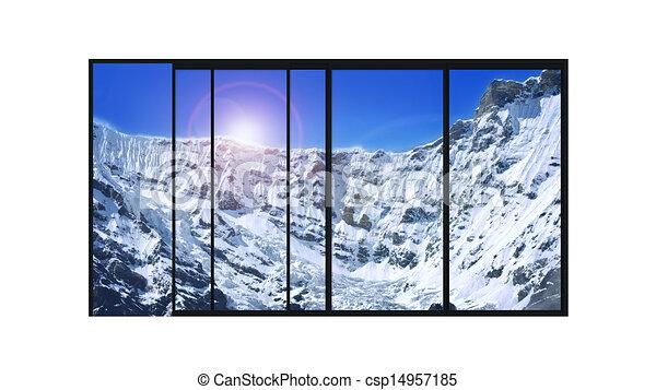 Illustration panoramique moderne fen tre neige for Prix fenetre panoramique
