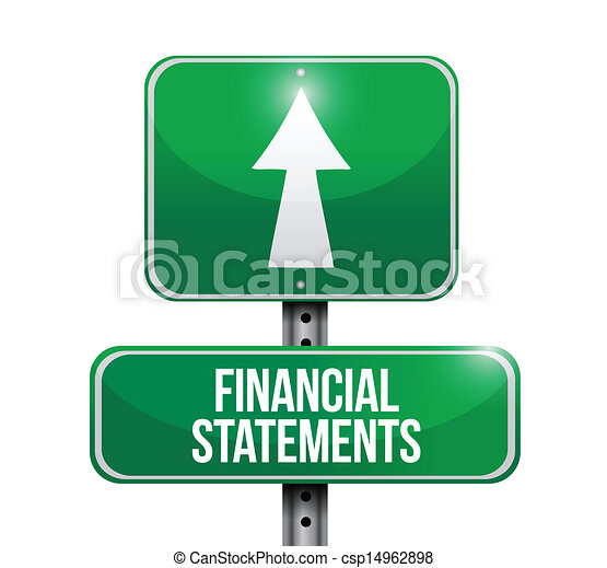 financial statements road sign illustrations - csp14962898