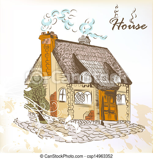 Stock Illustrations Of Hand Drawn Sketch Of Little House In English Style Vector