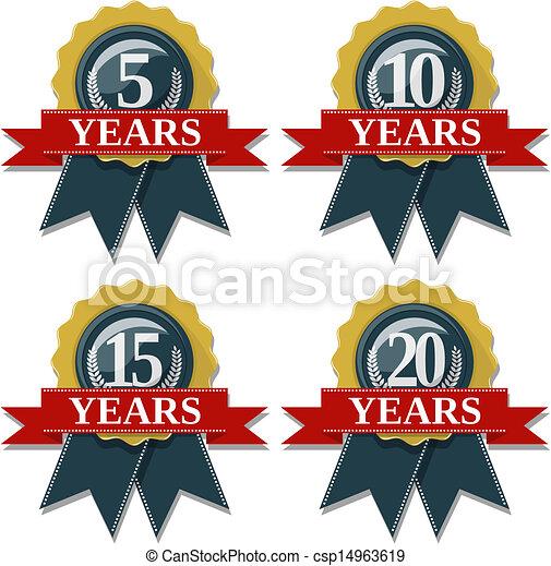 anniversary seal 5 10 15 20 years - csp14963619