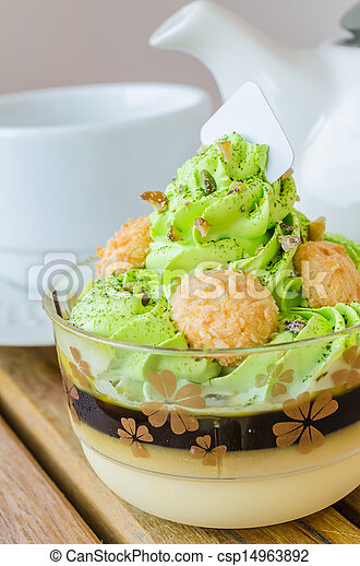 Green tea cake&tea cup - csp14963892