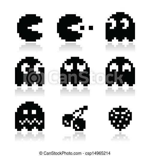 Pacman, ghosts, 8bit retro icons - csp14965214