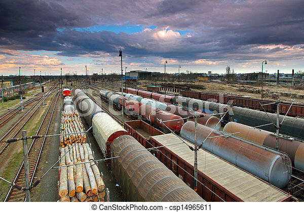 Cargo Station with trains - csp14965611
