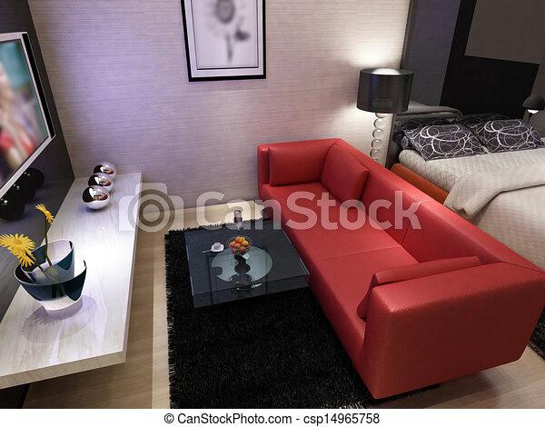 home interior 3d rendering - csp14965758
