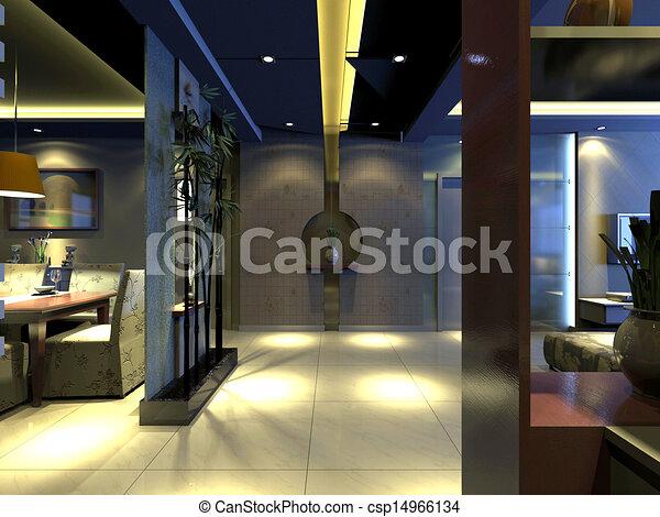 home interior 3d rendering - csp14966134