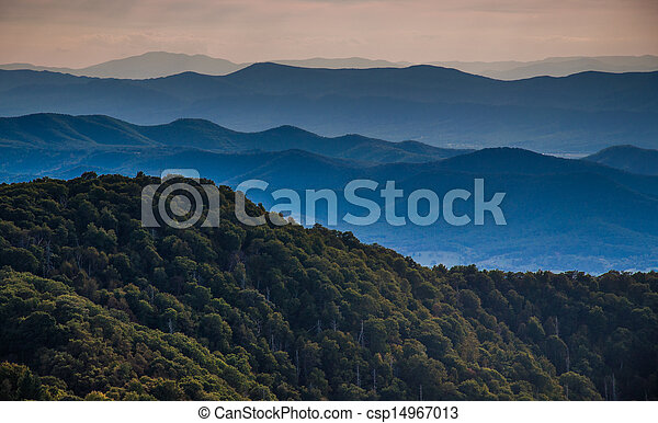 Layers of ridges of the Blue Ridge Mountains, seen from Stony Man Mountain, Shenandoah National Park, Virginia. - csp14967013