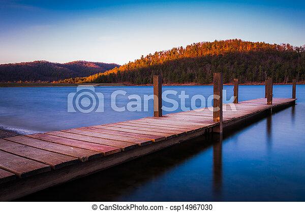 Long exposure of a small dock on Lake Arrowhead, near Shenandoah National Park in Luray, Virginia - csp14967030