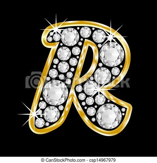 R Alphabet In Diamond de or, encadré, Alphabet, lettre, r - or, encadré, Alphabet ...