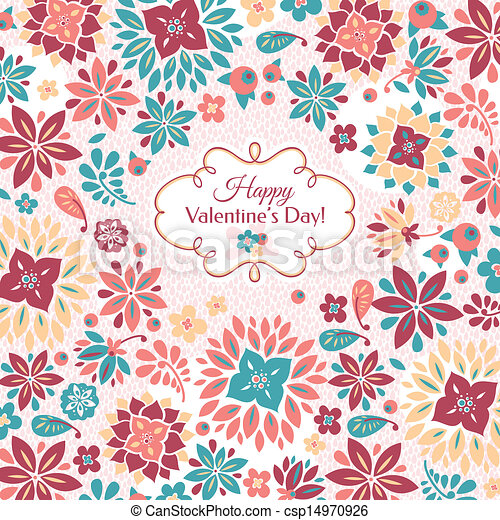 Abstract Valentine's day floral card - csp14970926