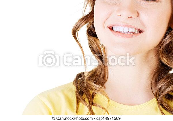 美麗, 完美, 婦女, 她, 直接, 白色, teeth. - csp14971569