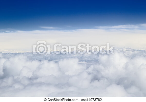 Heap clouds with blue sky above sky background. - csp14973782