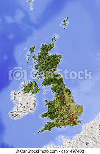 Great Britain, shaded relief map - csp1497408