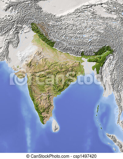 India, shaded relief map - csp1497420
