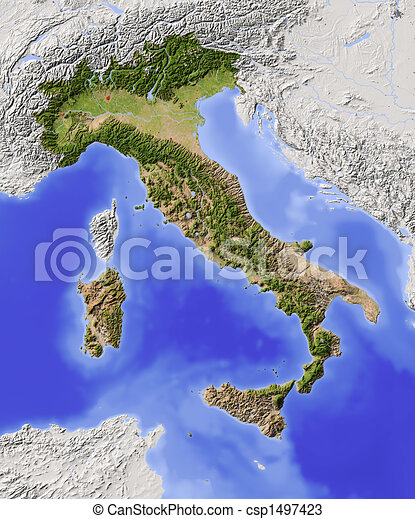 Italy, shaded relief map - csp1497423