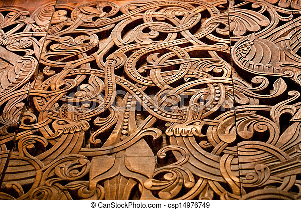 Stock Photo of Norse wooden carving - An old scandinavian wood carving ...