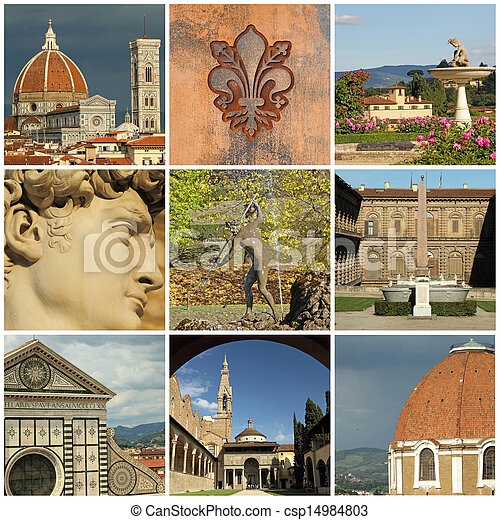 landmarks of Florence  collage - csp14984803