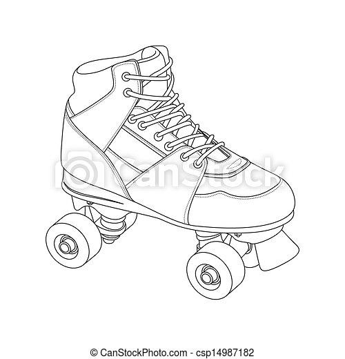 Roller Skate - csp14987182 Roller Derby Skate Drawing
