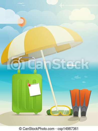 Summer seaside vacation illustration - csp14987361