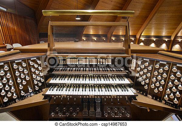 Church Pipe Organ Keyboards - csp14987653