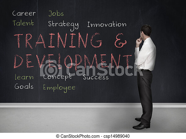 Training and development terms written on a blackboard - csp14989040