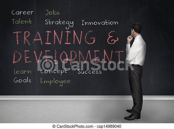 Training and development terms written on a blackboard - csp14989040