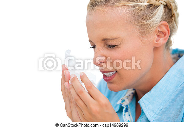 Stock Photo - Ill woman sneezing into tissue - stock image, images ...
