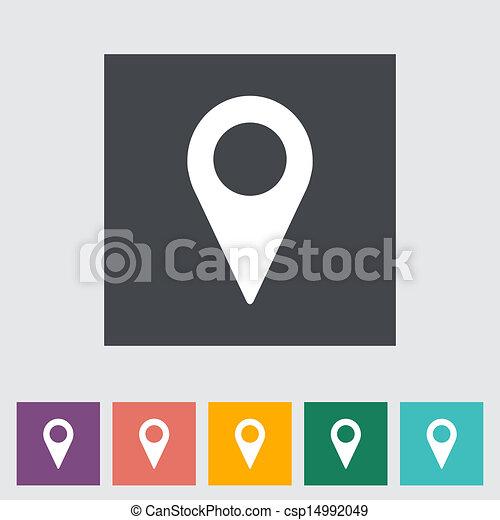 地圖, 單個, 指針, 圖象, 套間 - csp14992049