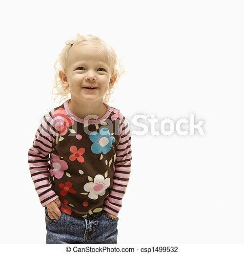 Female toddler laughing. - csp1499532