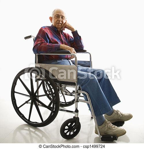 Elderly man in wheelchair. - csp1499724