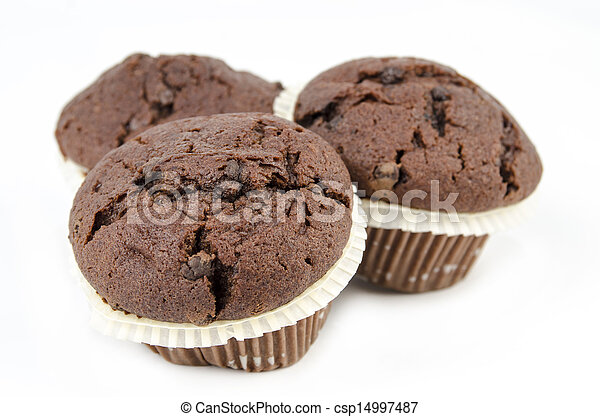 Chocolate muffins isolated on white - csp14997487